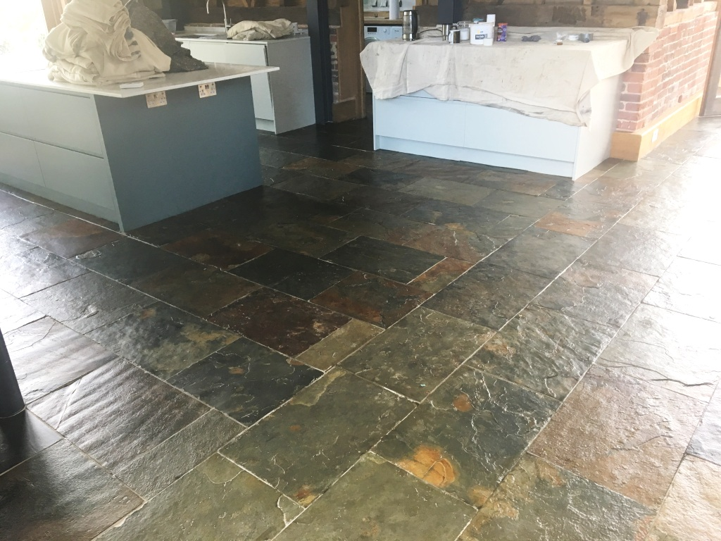 Slate Tiled Floor After Cleaning Farnham