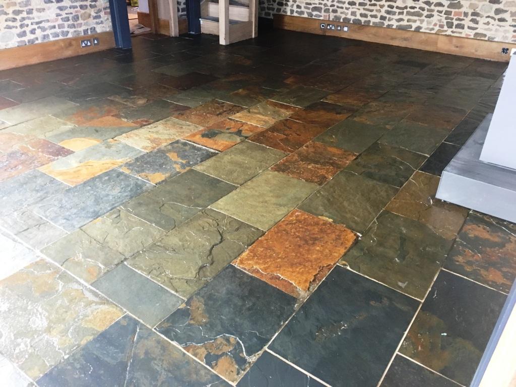 Slate Tiled Floor After Cleaning Farnham