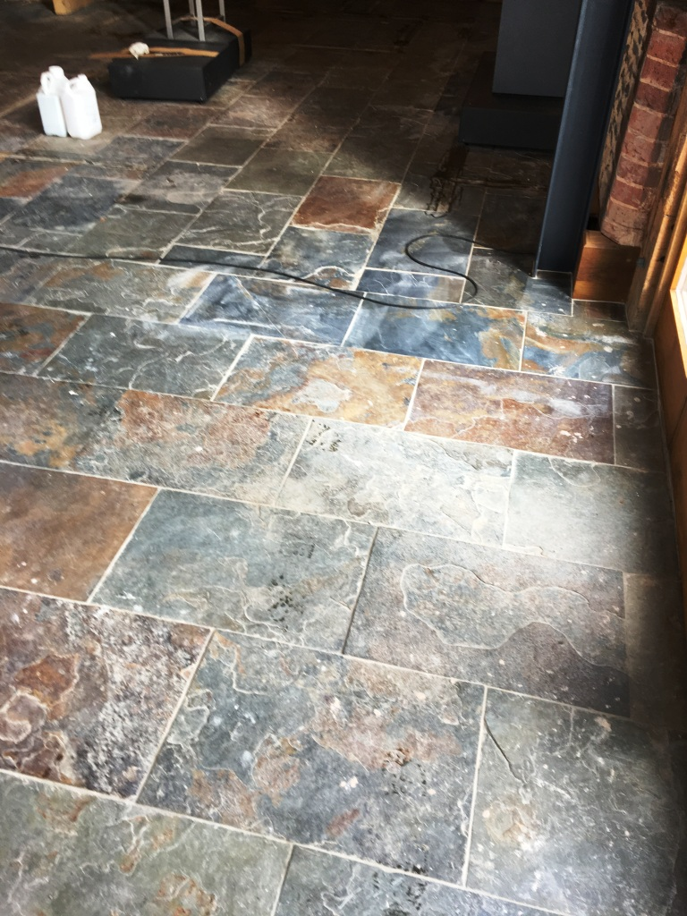 Slate Tiled Floor Before Cleaning Farnham