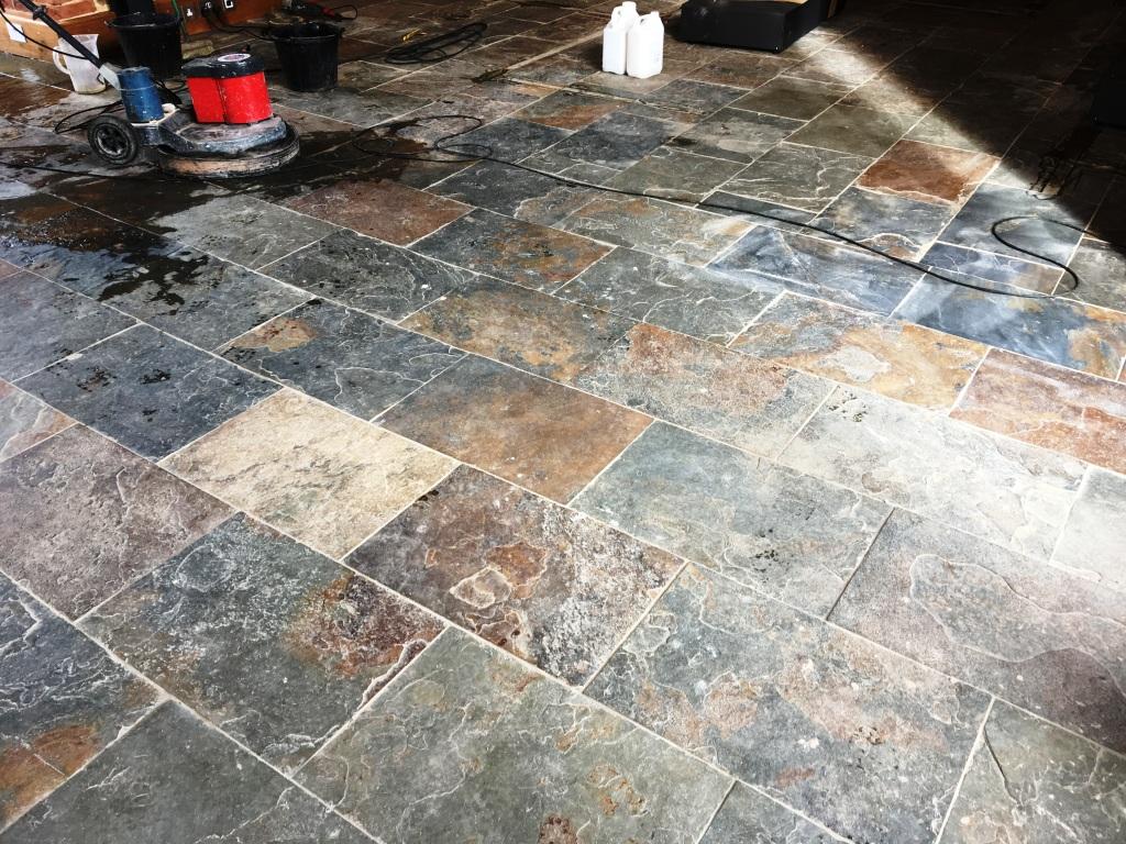 Slate Tiled Floor Before Cleaning Farnham