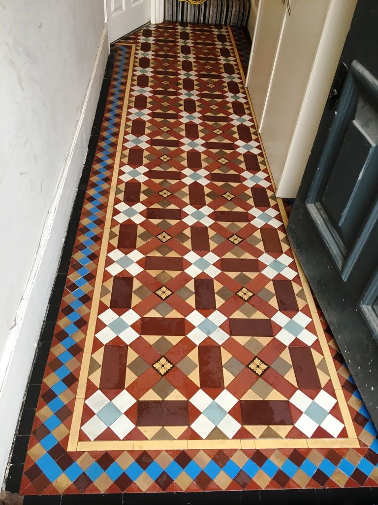 Victorian Tiled Hallway After Restoration in Leatherhead