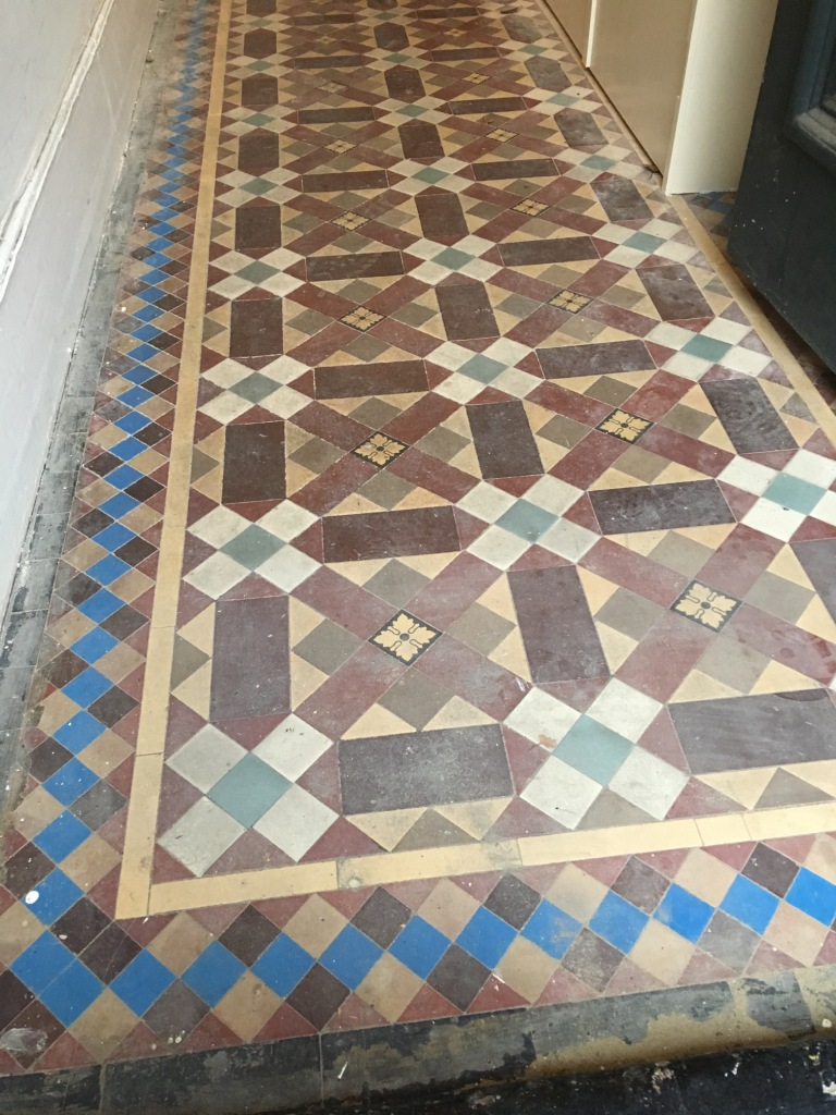 Victorian Tiled Hallway Before Restoration in Leatherhead