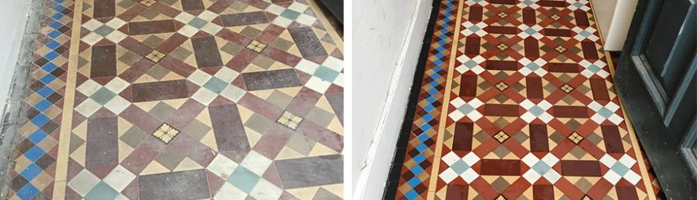Victorian Tiled Hallway Hidden Under Carpet Restored in Leatherhead