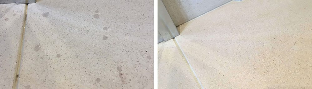 Red Wine Stains Removed From Limestone Fireplace Before and After Cleaning Woking
