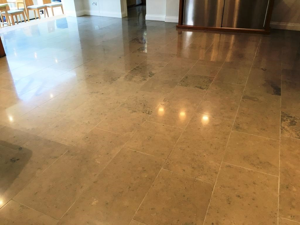 Limestone Tiled Floor After Cleaning in Weybridge