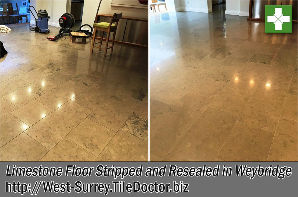 Limestone Tiled Floor Before and After resealing Weybridge