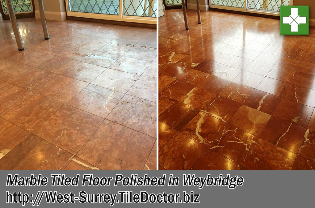 Red Brown Marble Tiled Floor Before After Polishing Weybridge
