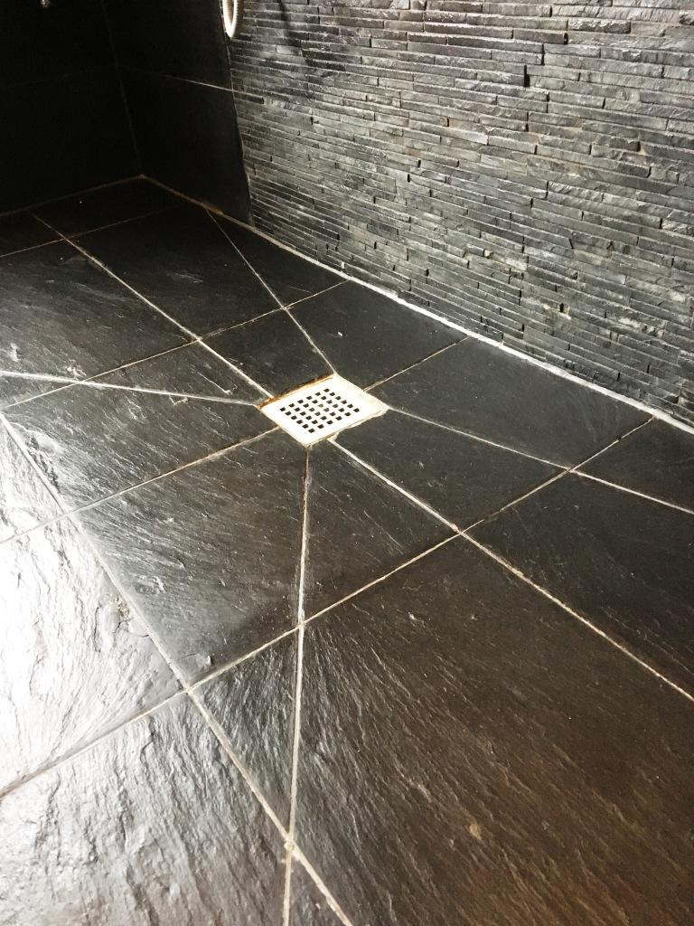 Slate Tiled Bathroom After Renovation Oxshot