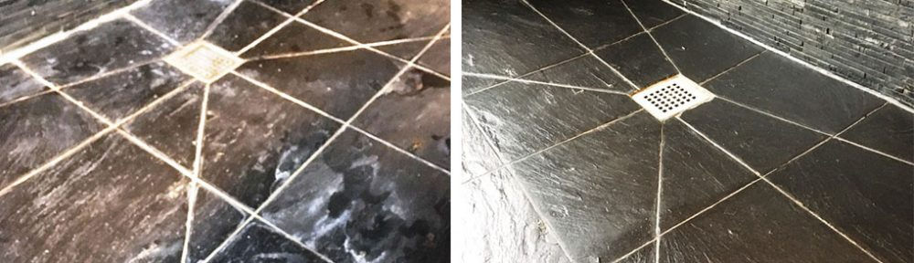 Slate Tiled Shower Before and After Renovation Oxshott