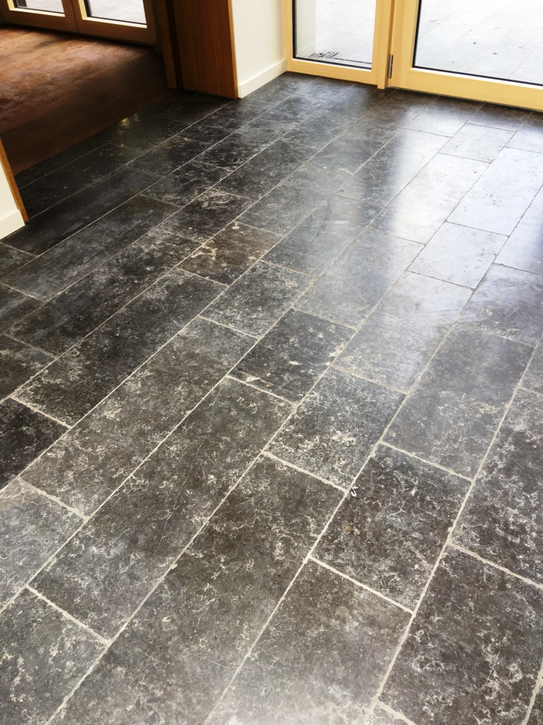 Scratched Black Limestone Floor Before Godalming