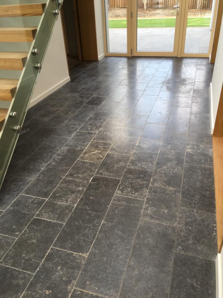 Scratched Black Limestone Floor Before Godalming