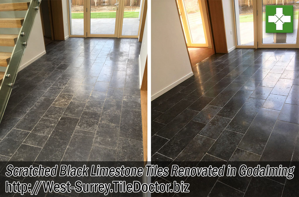 Scratched Black Limestone Tiled Kitchen Floor Before After Renovation Godalming