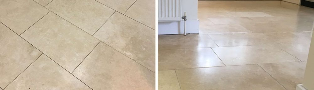 Dull Travertine Tiled Floor Deep Cleaned in Cobham