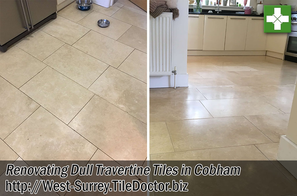 Travertine Tiled Flooring Before and After Renovation Cobham