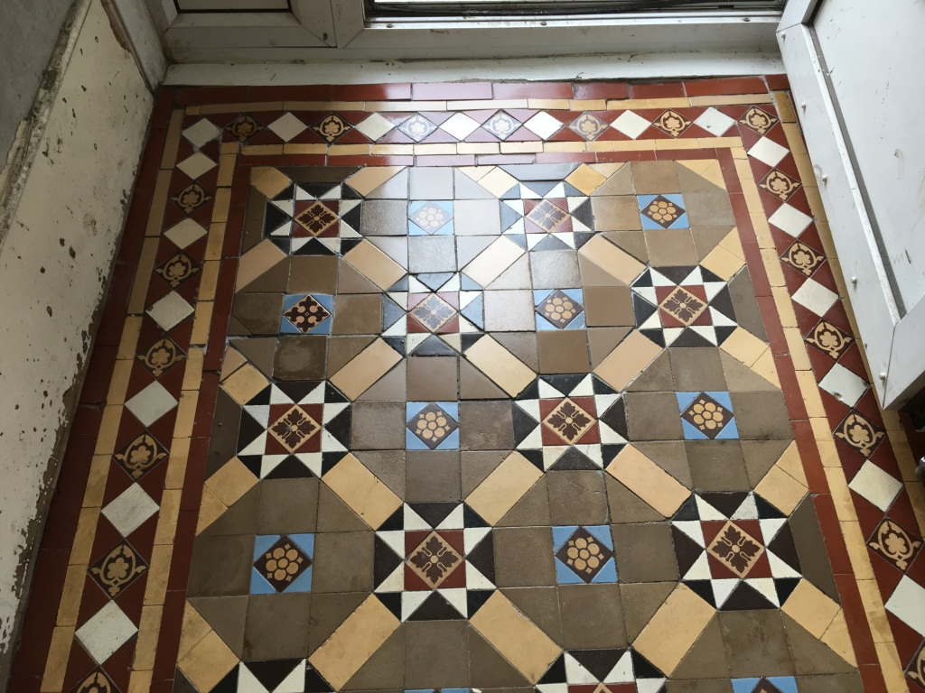 Victorian Tiled Hallway Floor After Rebuild in Epsom