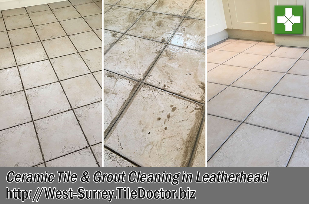 Ceramic Tile Grout Before After Cleaning Leatherhead