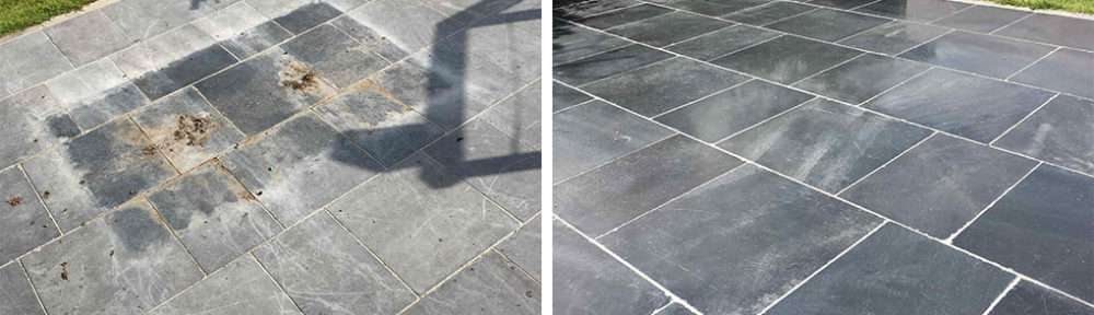 Cleaning and Sealing a Limestone Patio in Farnham