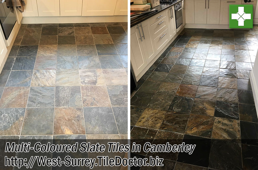 Multi Coloured Slate Floor Before After Renovation Camberley