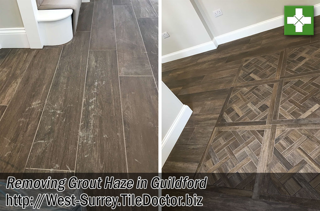 Wood Effect Ceramic Tiles Before After Polymer Grout Haze Removal Guildford