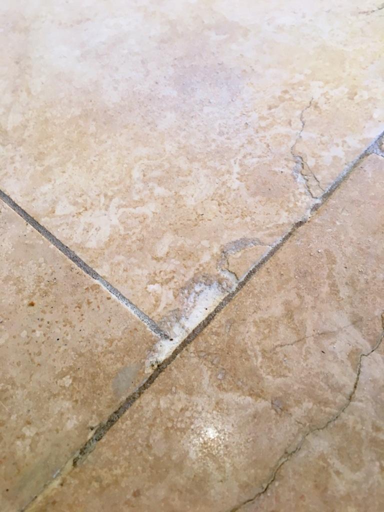 Travertine Floor Issues Before Restoration Cobham