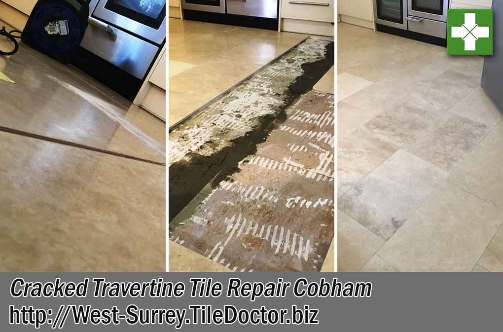 Travertine Floor Tile Replacement in Cobham