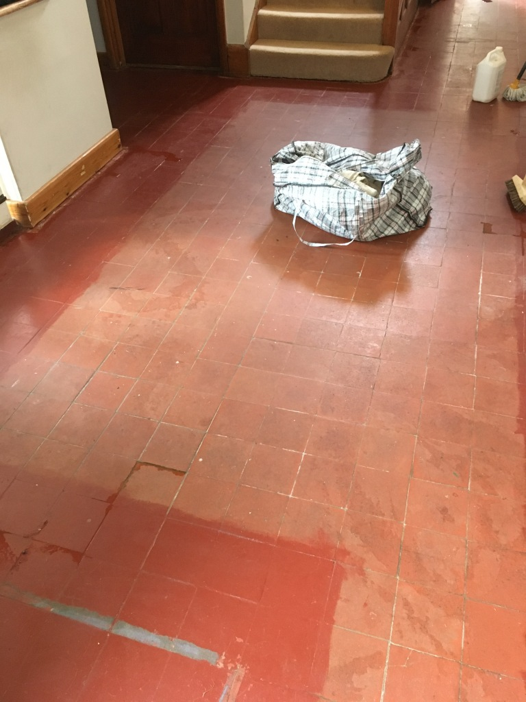 Painted Quarry Tiled Floor Before Renovation at Cranleigh Vicarage