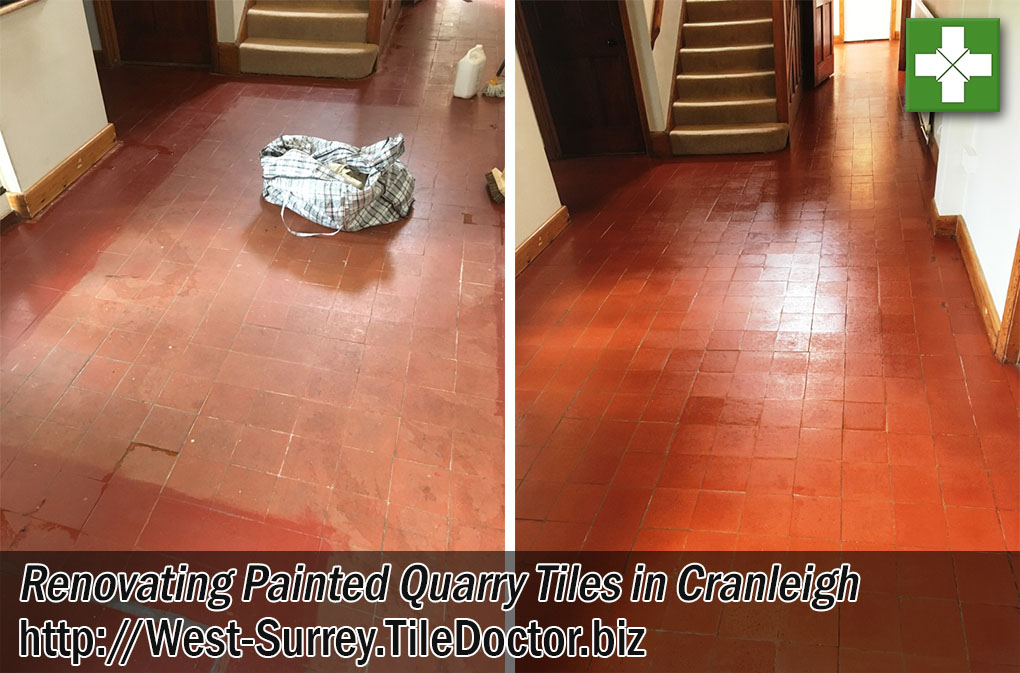 Painted Quarry Tiles Before After Renovation Cranleigh