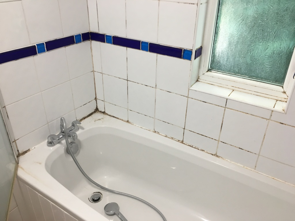 Bath Shower Tile Grout Before Cleaning Guildford