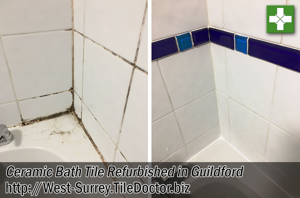 Ceramic Bath Tile Before After Cleaning Guildford