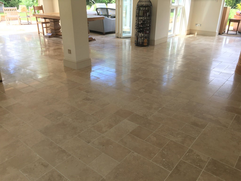 Fired Earth Limestone Floor After Clean and Seal Godalming