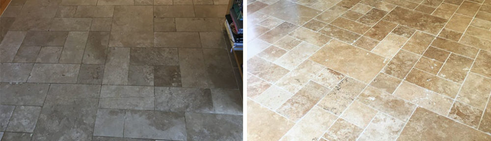 Fired Earth Limestone Floor Renovated in Godalming