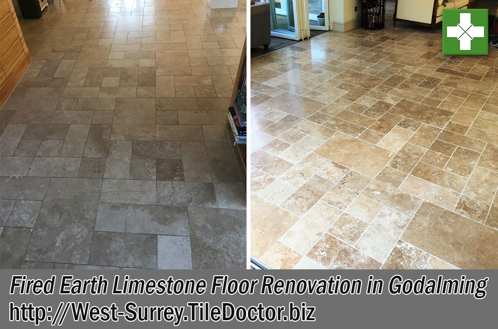 Fired Earth Limestone Floor Before After Renovation Godalming