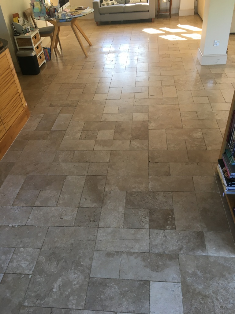 Fired Earth Limestone Floor Before Clean and Seal Godalming