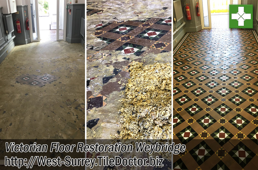 Victorian Tiled hallway Floor Before After Restoration Weybridge College