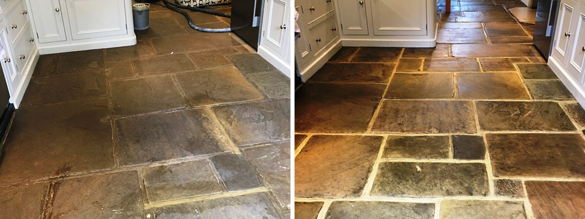 400 Year Old Flagstone Floor Before and After Restoration Ripley