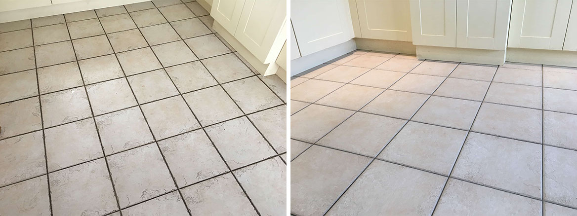 Ceramic Tile Grout Before and After Cleaning Leatherhead Kitchen