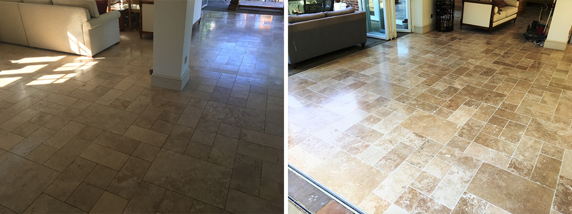 Fired Earth Limestone Floor Before and After Clean and Seal Godalming
