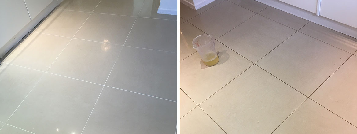 Floor Grout Before and After Replacement Cobham