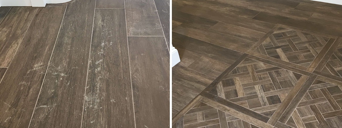 Grout Haze on Wood Effect Ceramic Tiles Before and After Removal Guildford