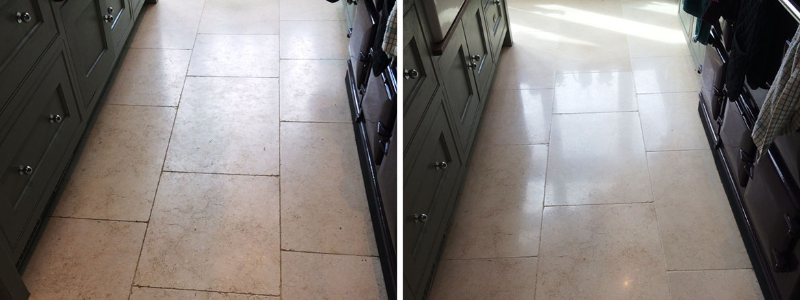 Limestone Floor Tiles Cobham Before and After Cleaning