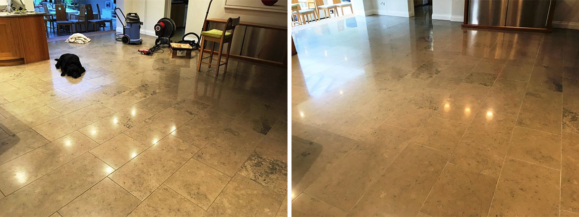 Limestone Tiled Floor Before and After Cleaning in Weybridge