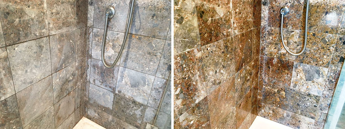 Marble Shower Wall Leatherhead Before and After Cleaning