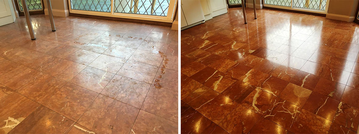Marble Tiled Floor Before and After Polishing Weybrige