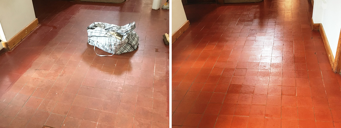 Painted Quarry Tiled Floor Before and After Renovation at Cranleigh Vicarage