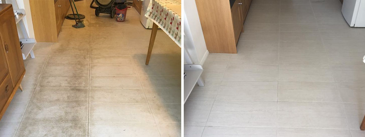 Porcelain Tiled Floor Before and After Cleaning Windlesham