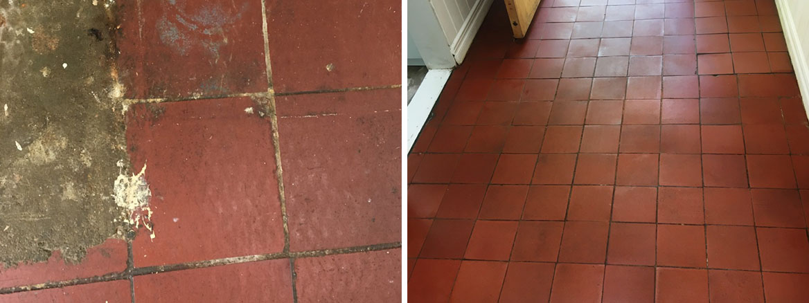 Quarry Tiled Floor Before and After Cleaning Haslemere