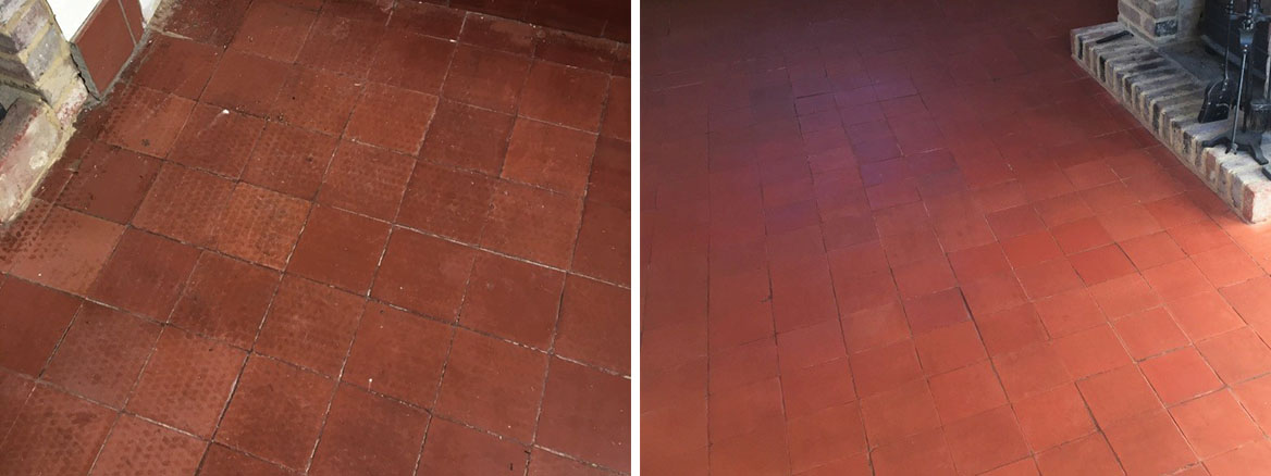 Quarry Tiled Floor Before and After Renovation at Dunsfold Cottage
