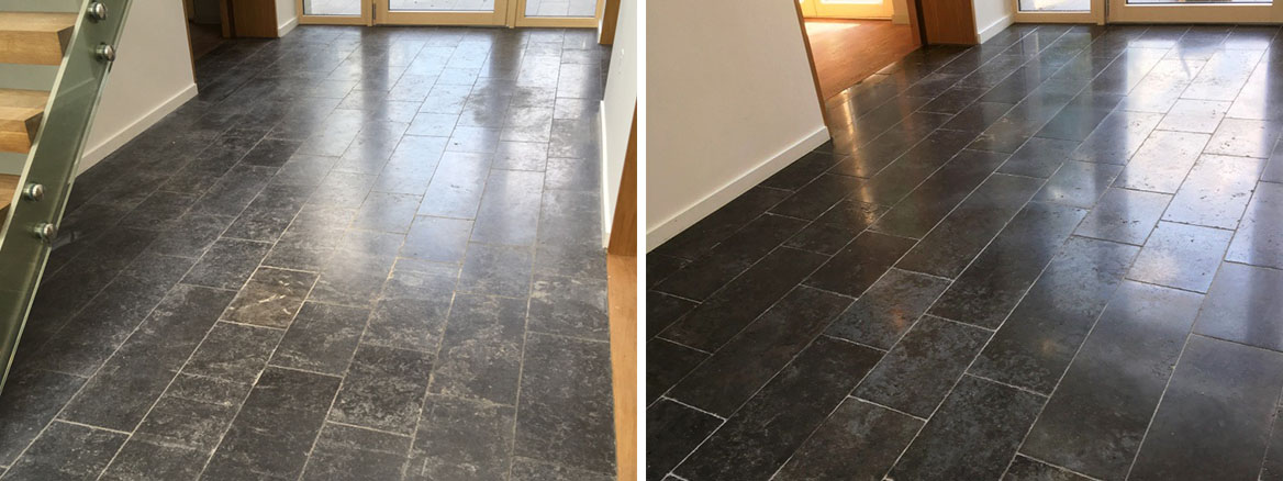Scratched Black Limestone Floor Before and After Burnishing Godalming