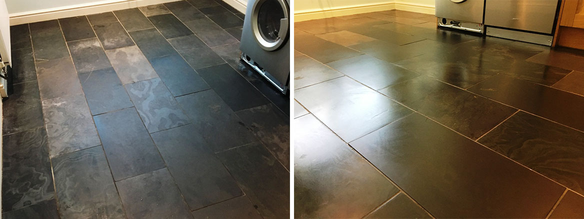 Scratched Slate Floor Tiles Before and After Cleaning Weybridge