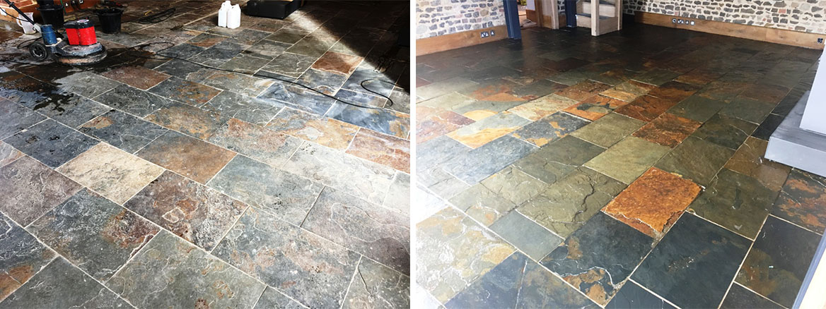 Slate Tiled Floor Before and After Cleaning Farnham